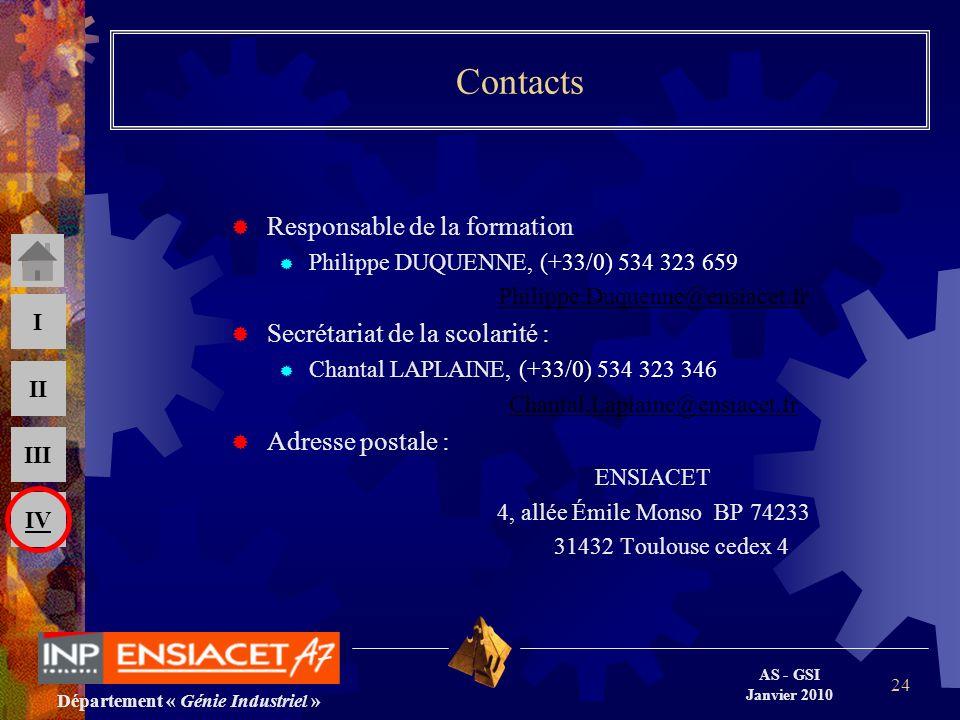 Département « Génie Industriel » AS - GSI Janvier 2010 III II I IV 24 Contacts Responsable de la formation Philippe DUQUENNE, (+33/0) 534 323 659 Phil