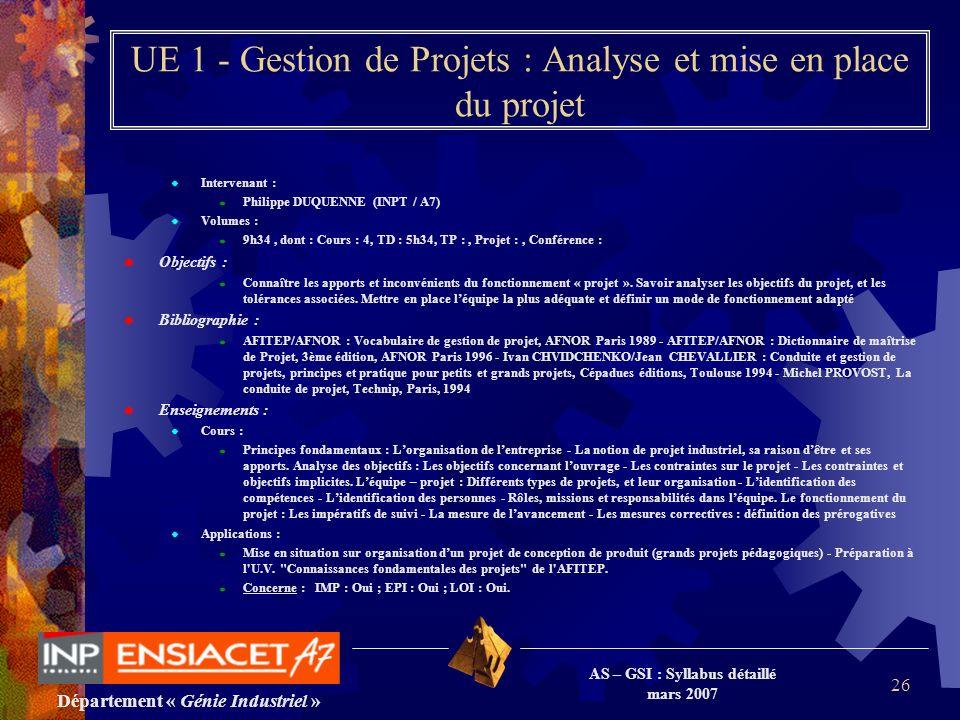 Département « Génie Industriel » AS – GSI : Syllabus détaillé mars 2007 26 UE 1 - Gestion de Projets : Analyse et mise en place du projet Intervenant