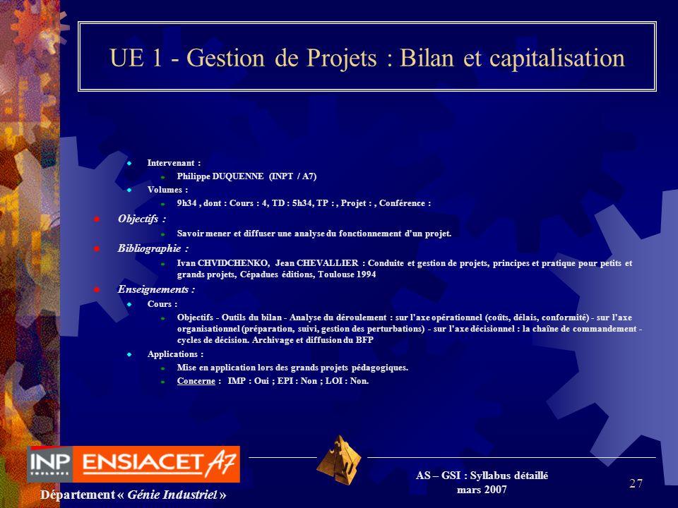 Département « Génie Industriel » AS – GSI : Syllabus détaillé mars 2007 27 UE 1 - Gestion de Projets : Bilan et capitalisation Intervenant : Philippe