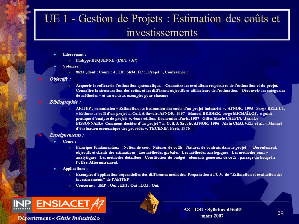 Département « Génie Industriel » AS – GSI : Syllabus détaillé mars 2007 29 UE 1 - Gestion de Projets : Estimation des coûts et investissements Interve