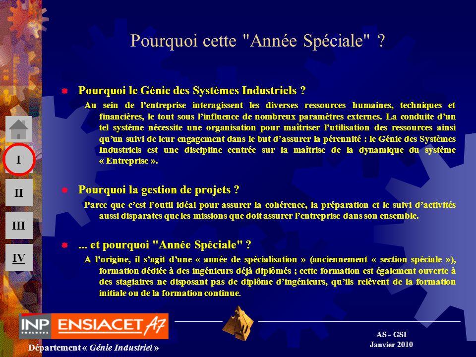 Département « Génie Industriel » AS - GSI Janvier 2010 III II I IV 24 Contacts Responsable de la formation Philippe DUQUENNE, (+33/0) 534 323 659 Philippe.Duquenne@ensiacet.fr Secrétariat de la scolarité : Chantal LAPLAINE, (+33/0) 534 323 346 Chantal.Laplaine@ensiacet.fr Adresse postale : ENSIACET 4, allée Émile Monso BP 74233 31432 Toulouse cedex 4