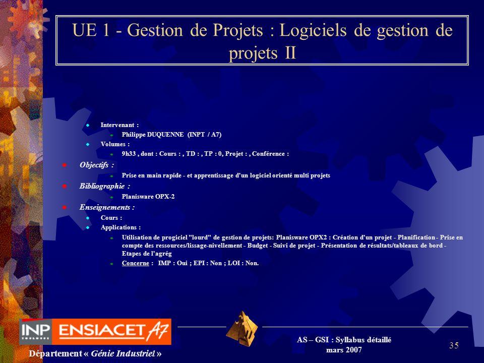 Département « Génie Industriel » AS – GSI : Syllabus détaillé mars 2007 35 UE 1 - Gestion de Projets : Logiciels de gestion de projets II Intervenant