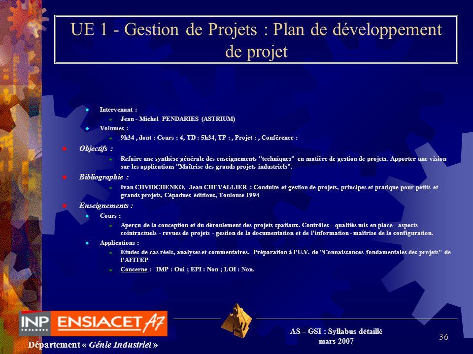 Département « Génie Industriel » AS – GSI : Syllabus détaillé mars 2007 36 UE 1 - Gestion de Projets : Plan de développement de projet Intervenant : J