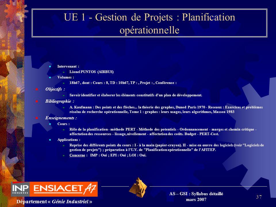 Département « Génie Industriel » AS – GSI : Syllabus détaillé mars 2007 37 UE 1 - Gestion de Projets : Planification opérationnelle Intervenant : Lion