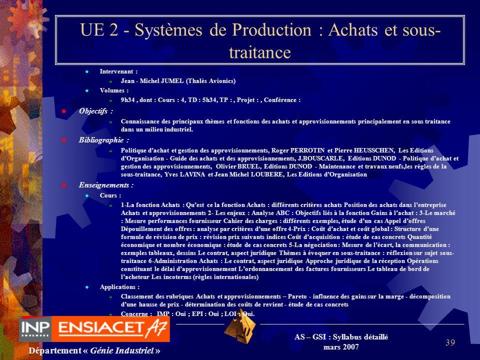 Département « Génie Industriel » AS – GSI : Syllabus détaillé mars 2007 39 UE 2 - Systèmes de Production : Achats et sous- traitance Intervenant : Jea