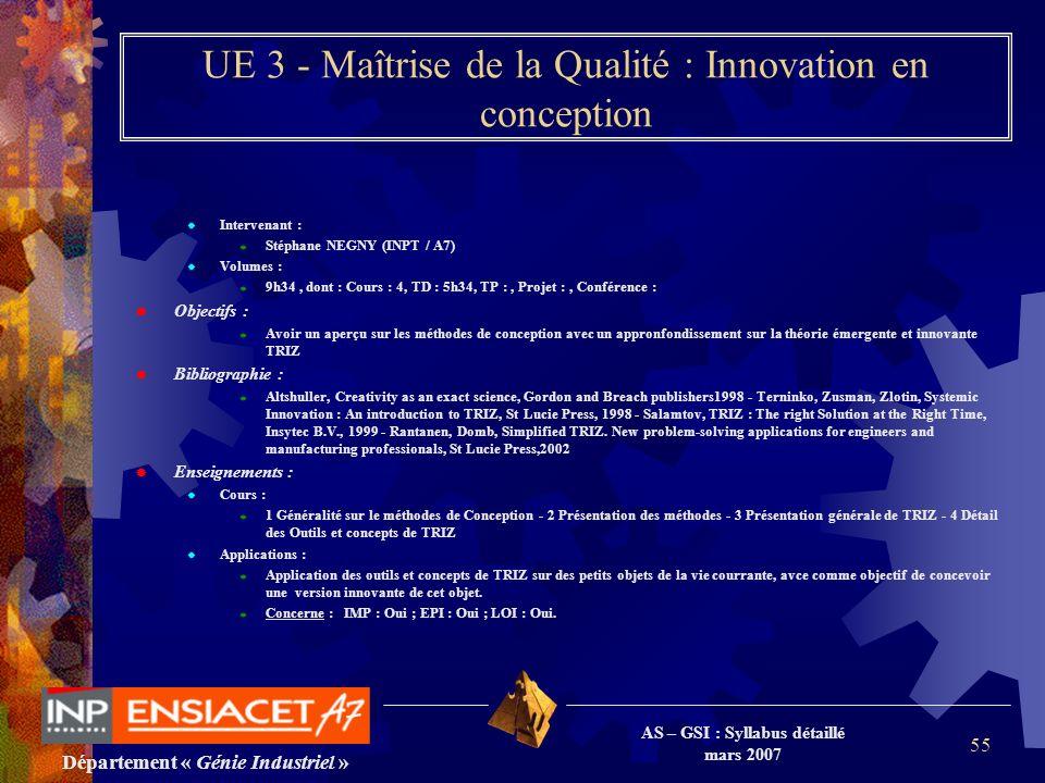 Département « Génie Industriel » AS – GSI : Syllabus détaillé mars 2007 55 UE 3 - Maîtrise de la Qualité : Innovation en conception Intervenant : Stép