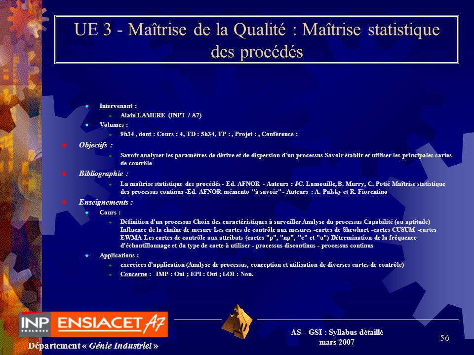 Département « Génie Industriel » AS – GSI : Syllabus détaillé mars 2007 56 UE 3 - Maîtrise de la Qualité : Maîtrise statistique des procédés Intervena