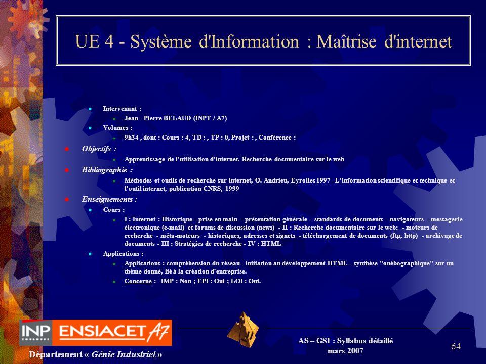 Département « Génie Industriel » AS – GSI : Syllabus détaillé mars 2007 64 UE 4 - Système d'Information : Maîtrise d'internet Intervenant : Jean - Pie