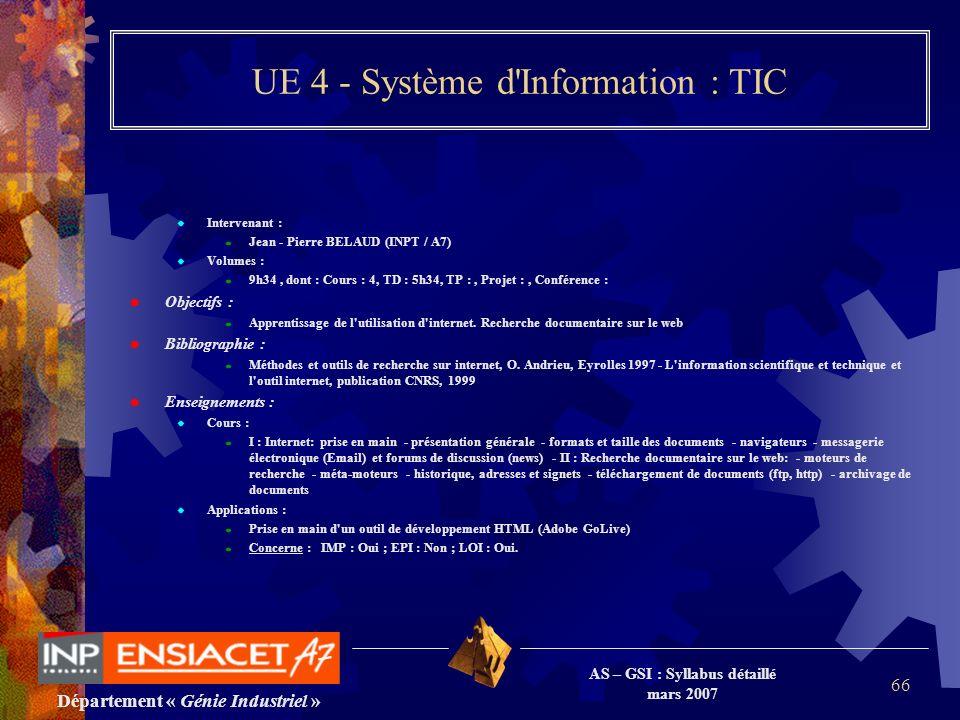 Département « Génie Industriel » AS – GSI : Syllabus détaillé mars 2007 66 UE 4 - Système d'Information : TIC Intervenant : Jean - Pierre BELAUD (INPT