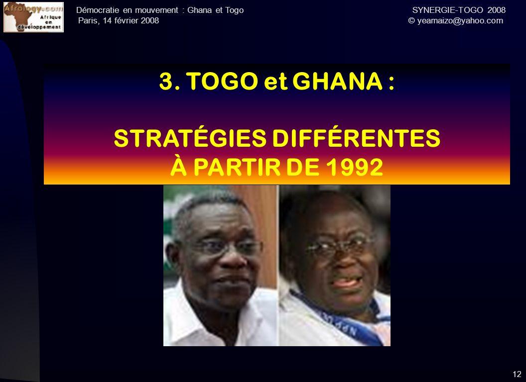 Démocratie en mouvement : Ghana et Togo SYNERGIE-TOGO 2008 Paris, 14 février 2008 © yeamaizo@yahoo.com 12 3. TOGO et GHANA : STRATÉGIES DIFFÉRENTES À