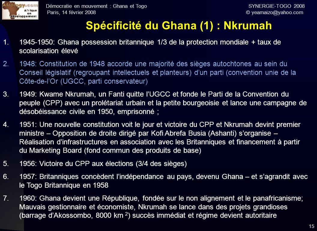 Démocratie en mouvement : Ghana et Togo SYNERGIE-TOGO 2008 Paris, 14 février 2008 © yeamaizo@yahoo.com 15 Spécificité du Ghana (1) : Nkrumah 1.1945-19