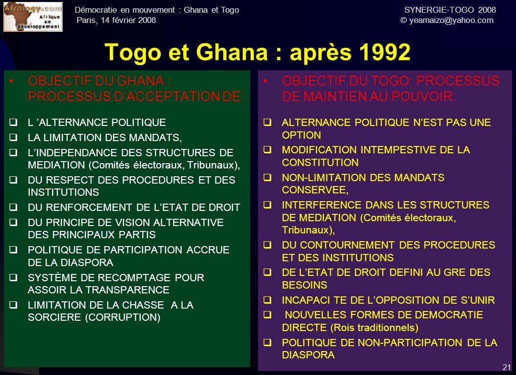 Démocratie en mouvement : Ghana et Togo SYNERGIE-TOGO 2008 Paris, 14 février 2008 © yeamaizo@yahoo.com Togo et Ghana : après 1992 OBJECTIF DU GHANA :