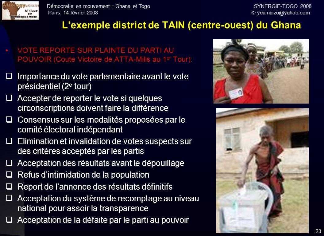 Démocratie en mouvement : Ghana et Togo SYNERGIE-TOGO 2008 Paris, 14 février 2008 © yeamaizo@yahoo.com Lexemple district de TAIN (centre-ouest) du Gha