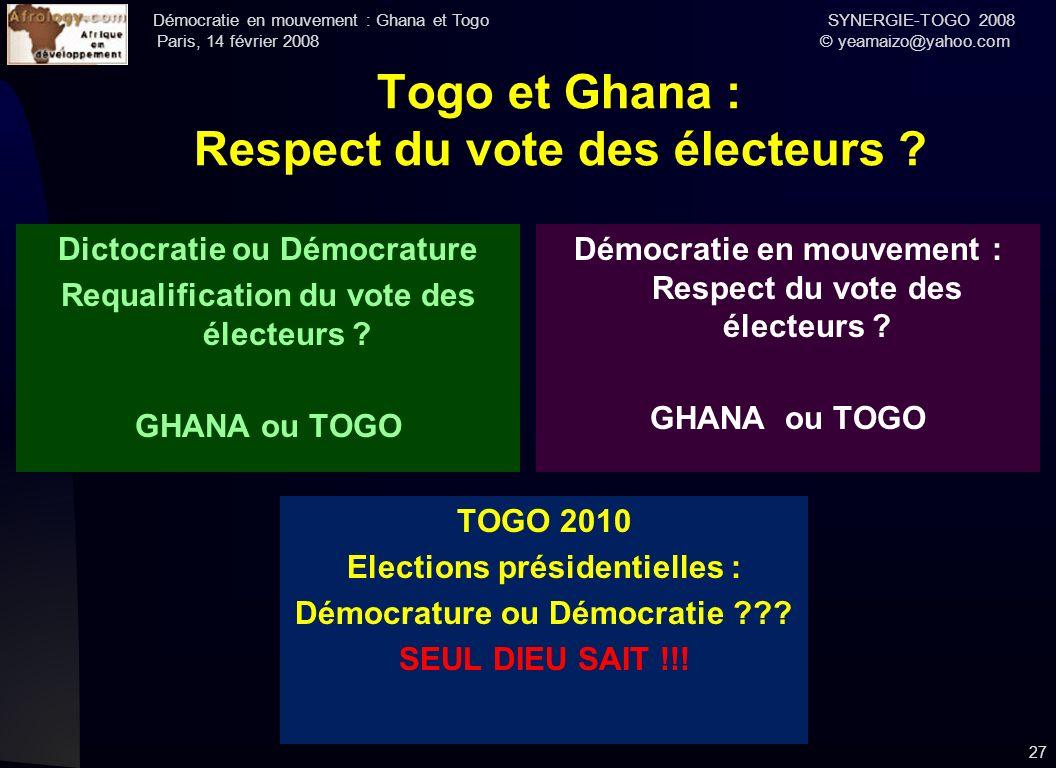 Démocratie en mouvement : Ghana et Togo SYNERGIE-TOGO 2008 Paris, 14 février 2008 © yeamaizo@yahoo.com Togo et Ghana : Respect du vote des électeurs ?
