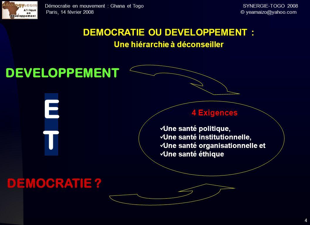 Démocratie en mouvement : Ghana et Togo SYNERGIE-TOGO 2008 Paris, 14 février 2008 © yeamaizo@yahoo.com 4 DEMOCRATIE OU DEVELOPPEMENT : Une hiérarchie