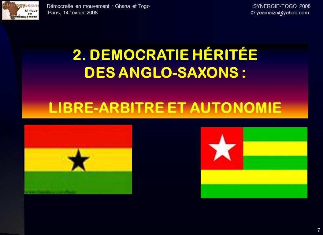 Démocratie en mouvement : Ghana et Togo SYNERGIE-TOGO 2008 Paris, 14 février 2008 © yeamaizo@yahoo.com 7 2. DEMOCRATIE HÉRITÉE DES ANGLO-SAXONS : LIBR