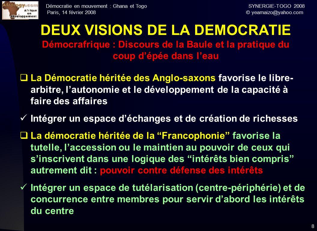 Démocratie en mouvement : Ghana et Togo SYNERGIE-TOGO 2008 Paris, 14 février 2008 © yeamaizo@yahoo.com 8 DEUX VISIONS DE LA DEMOCRATIE Démocrafrique :