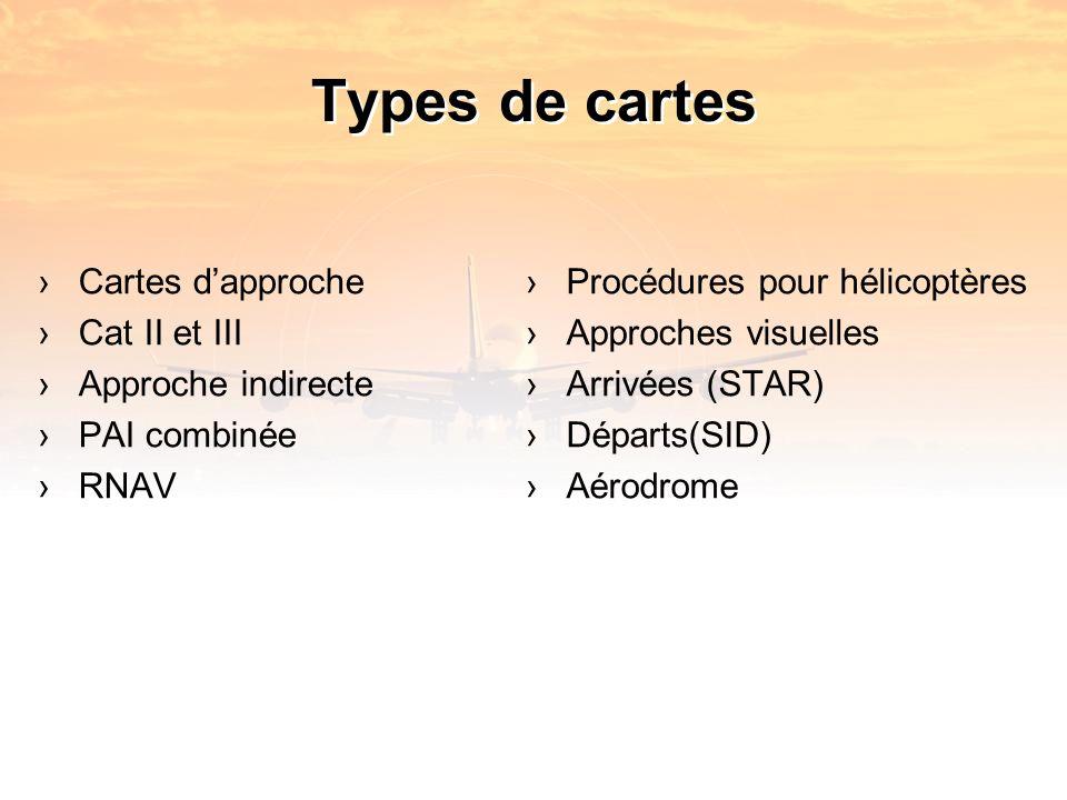 Types de cartes Cartes dapproche Cat II et III Approche indirecte PAI combinée RNAV Procédures pour hélicoptères Approches visuelles Arrivées (STAR) Départs(SID) Aérodrome
