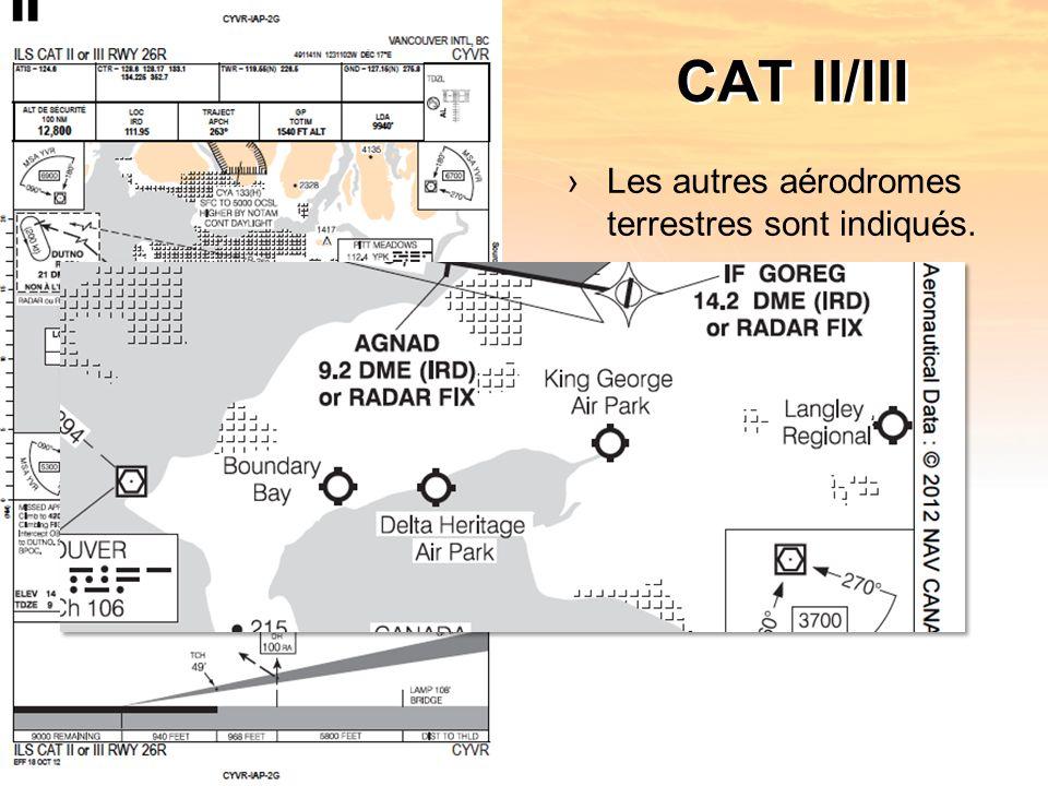 CAT II/III Les autres aérodromes terrestres sont indiqués.