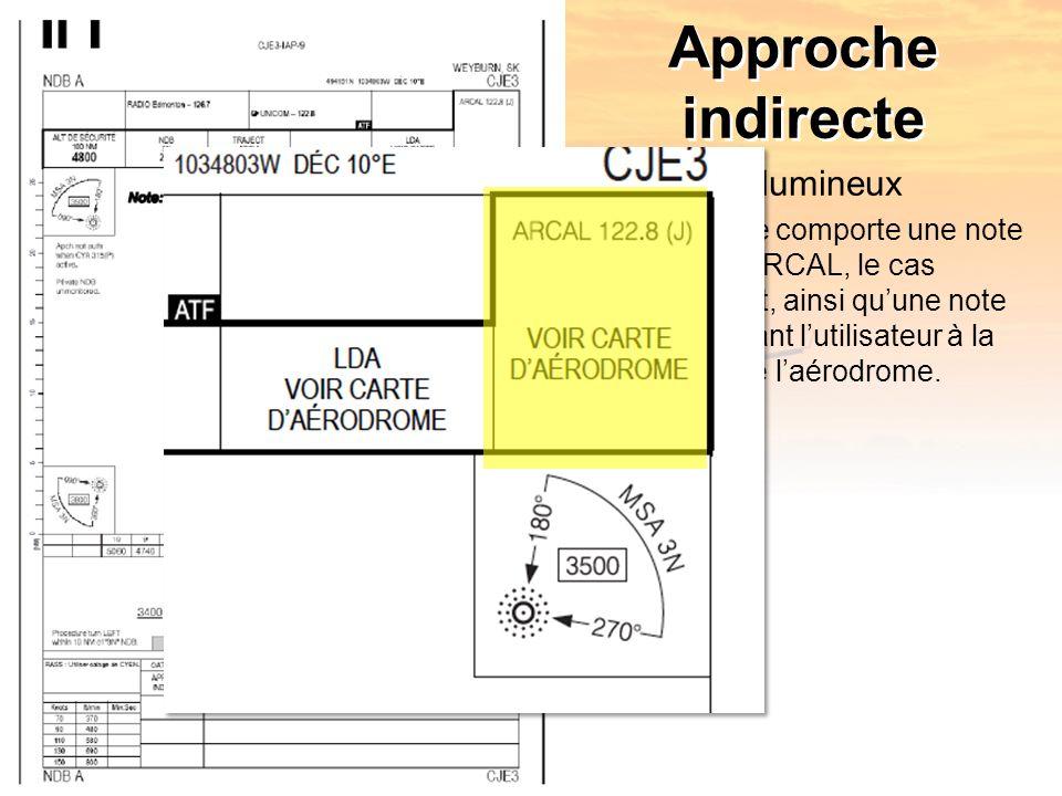 Approche indirecte Balisage lumineux –La carte comporte une note pour lARCAL, le cas échéant, ainsi quune note renvoyant lutilisateur à la carte de laérodrome.