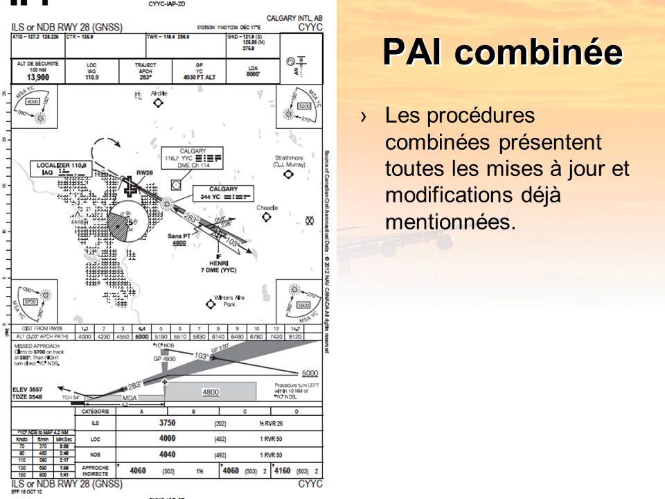 PAI combinée Les procédures combinées présentent toutes les mises à jour et modifications déjà mentionnées.