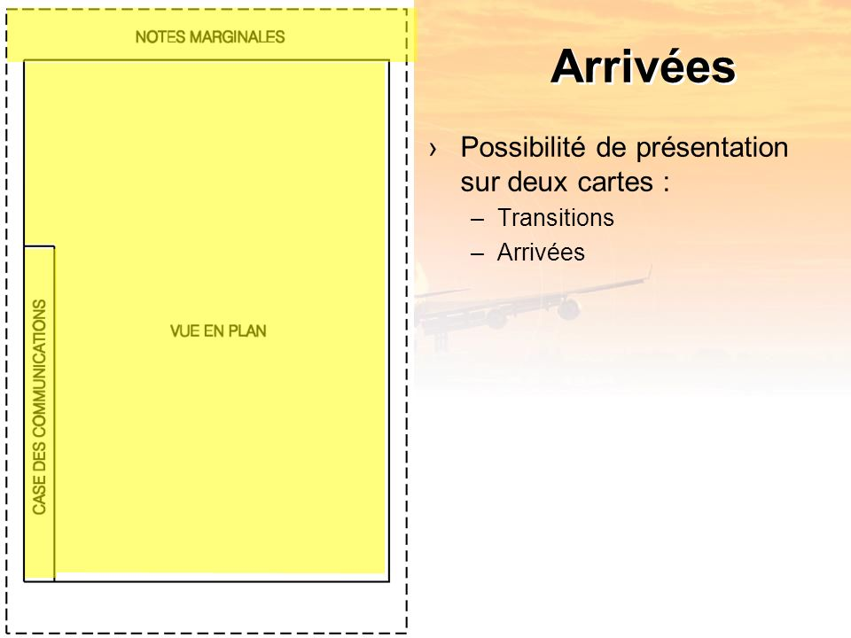 Arrivées Possibilité de présentation sur deux cartes : –Transitions –Arrivées