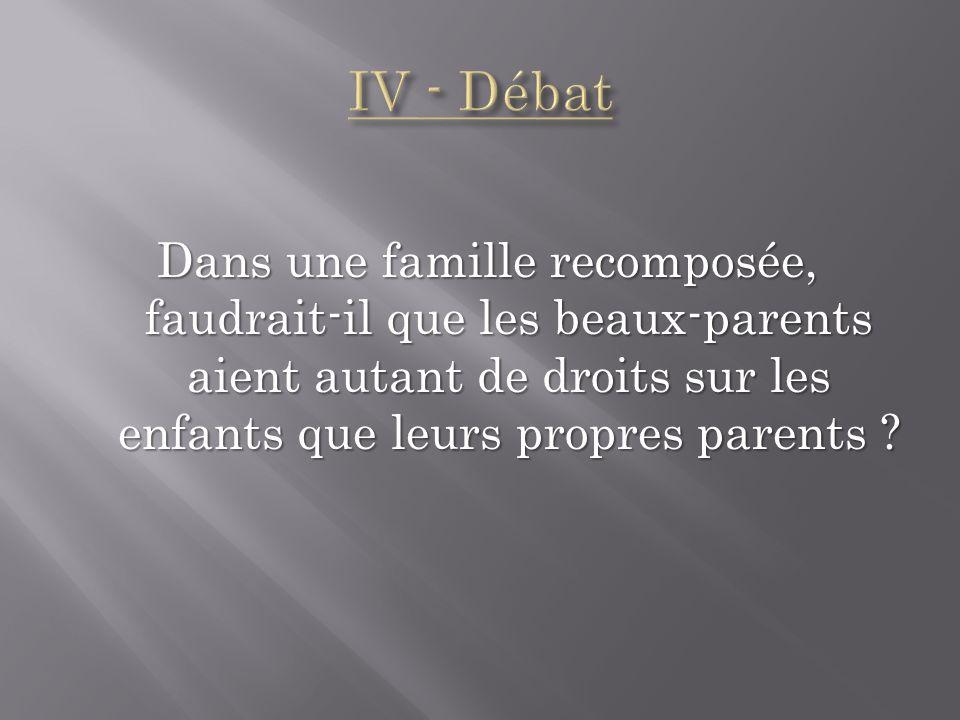 Dans une famille recomposée, faudrait-il que les beaux-parents aient autant de droits sur les enfants que leurs propres parents ?