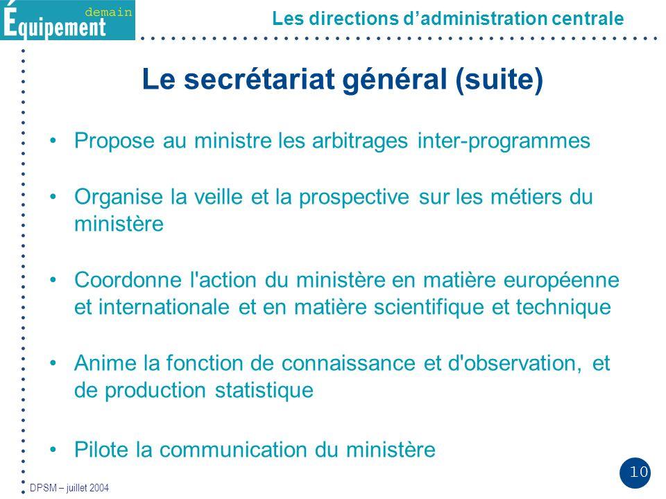10 DPSM – juillet 2004 Le secrétariat général (suite) Propose au ministre les arbitrages inter-programmes Organise la veille et la prospective sur les