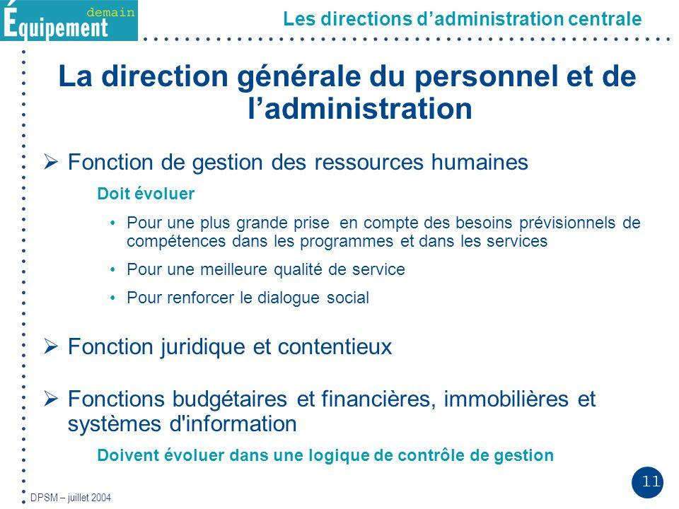 11 DPSM – juillet 2004 La direction générale du personnel et de ladministration Fonction de gestion des ressources humaines Doit évoluer Pour une plus