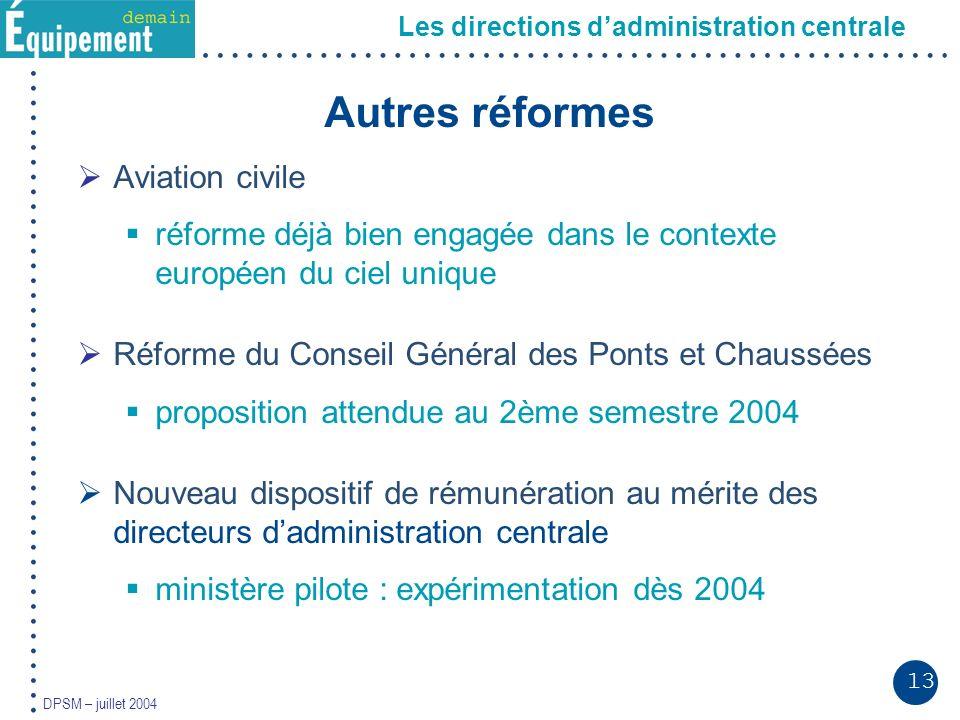 13 DPSM – juillet 2004 Autres réformes Aviation civile réforme déjà bien engagée dans le contexte européen du ciel unique Réforme du Conseil Général d