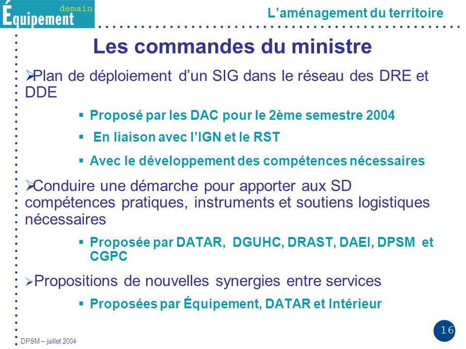 16 DPSM – juillet 2004 Laménagement du territoire Les commandes du ministre Plan de déploiement dun SIG dans le réseau des DRE et DDE Proposé par les DAC pour le 2ème semestre 2004 En liaison avec lIGN et le RST Avec le développement des compétences nécessaires Conduire une démarche pour apporter aux SD compétences pratiques, instruments et soutiens logistiques nécessaires Proposée par DATAR, DGUHC, DRAST, DAEI, DPSM et CGPC Propositions de nouvelles synergies entre services Proposées par Équipement, DATAR et Intérieur