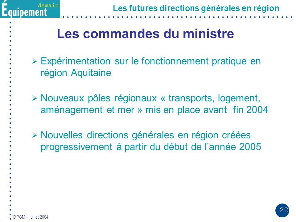 22 DPSM – juillet 2004 Les futures directions générales en région Les commandes du ministre Expérimentation sur le fonctionnement pratique en région A