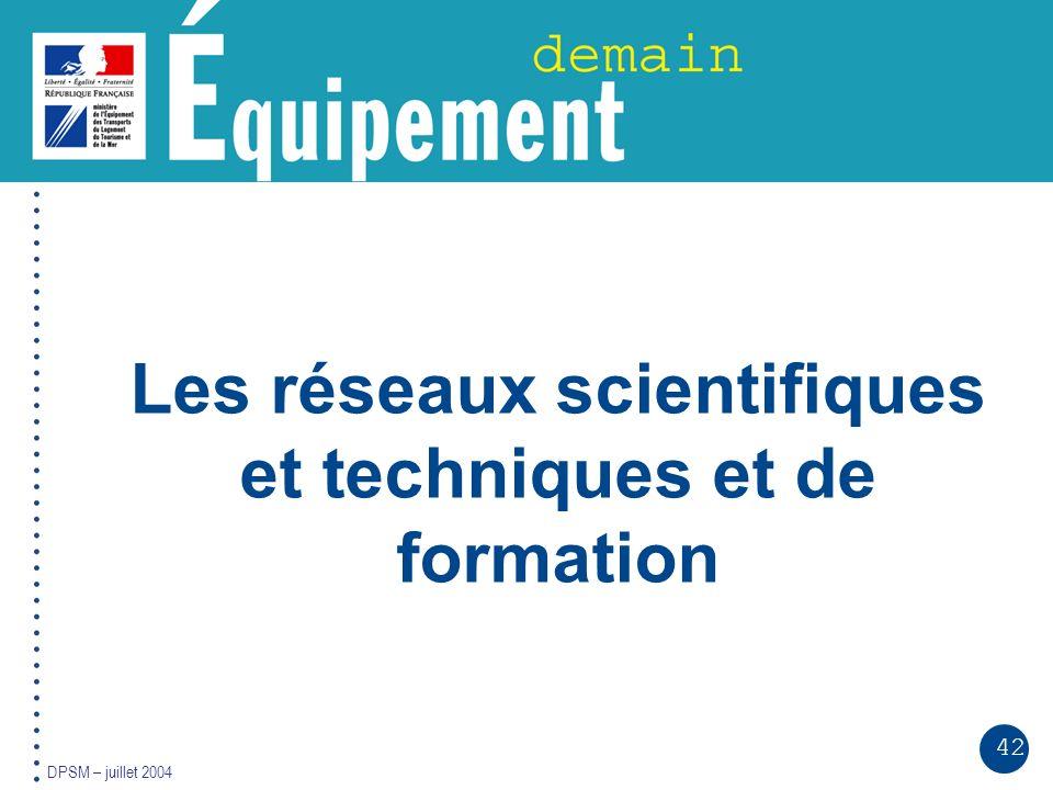 42 DPSM – juillet 2004 Les réseaux scientifiques et techniques et de formation