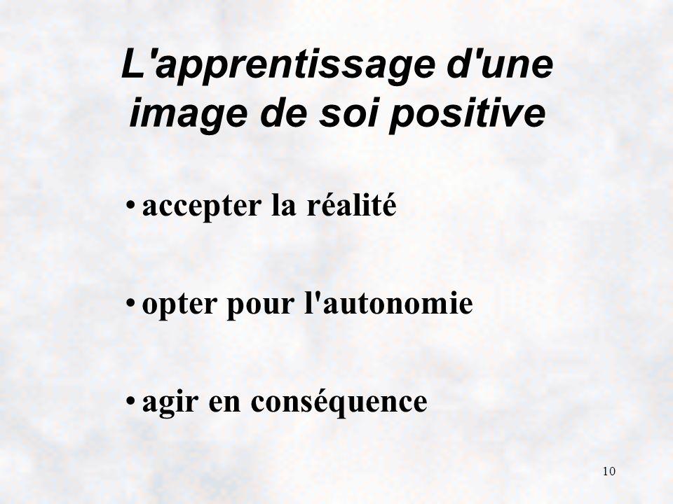 10 L apprentissage d une image de soi positive accepter la réalité opter pour l autonomie agir en conséquence