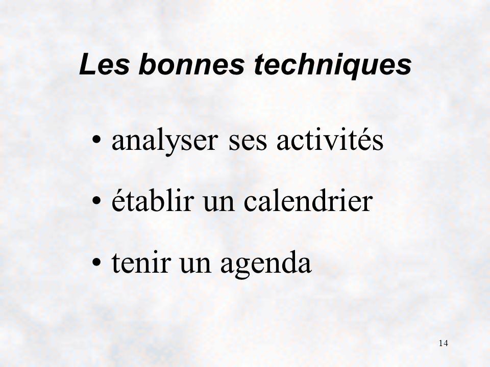 14 Les bonnes techniques analyser ses activités établir un calendrier tenir un agenda