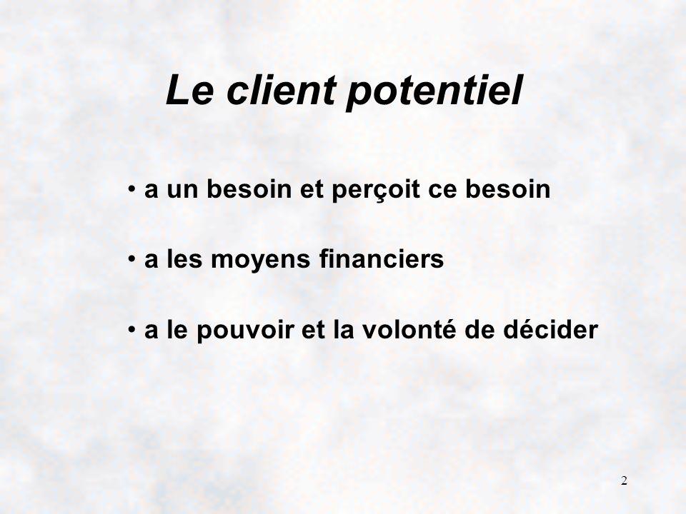 2 Le client potentiel a un besoin et perçoit ce besoin a les moyens financiers a le pouvoir et la volonté de décider