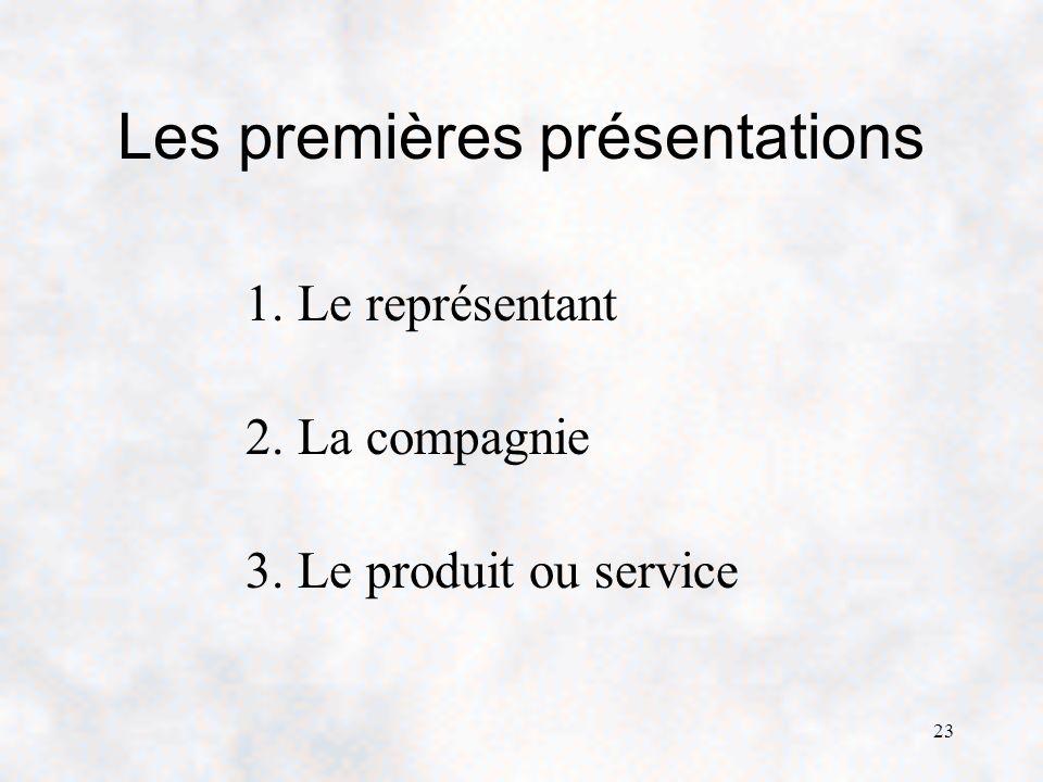 23 Les premières présentations 1. Le représentant 2. La compagnie 3. Le produit ou service