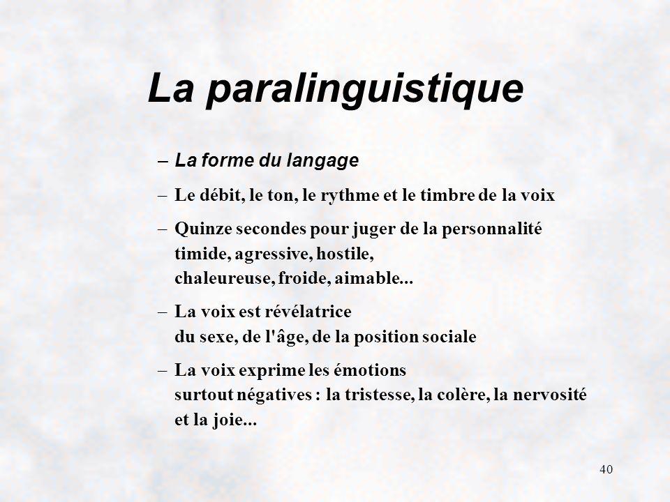40 La paralinguistique –La forme du langage –Le débit, le ton, le rythme et le timbre de la voix –Quinze secondes pour juger de la personnalité timide, agressive, hostile, chaleureuse, froide, aimable...