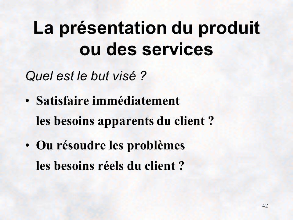 42 La présentation du produit ou des services Quel est le but visé .