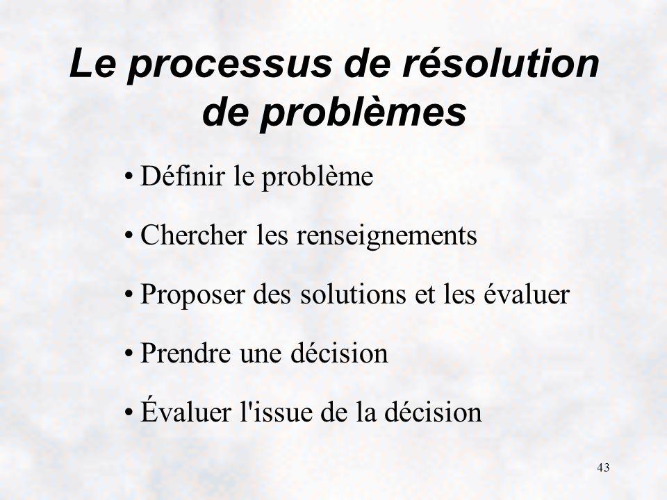 43 Le processus de résolution de problèmes Définir le problème Chercher les renseignements Proposer des solutions et les évaluer Prendre une décision Évaluer l issue de la décision