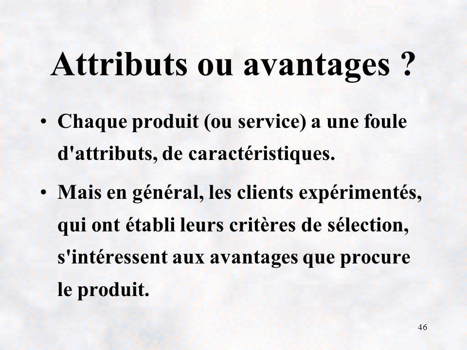 46 Attributs ou avantages .