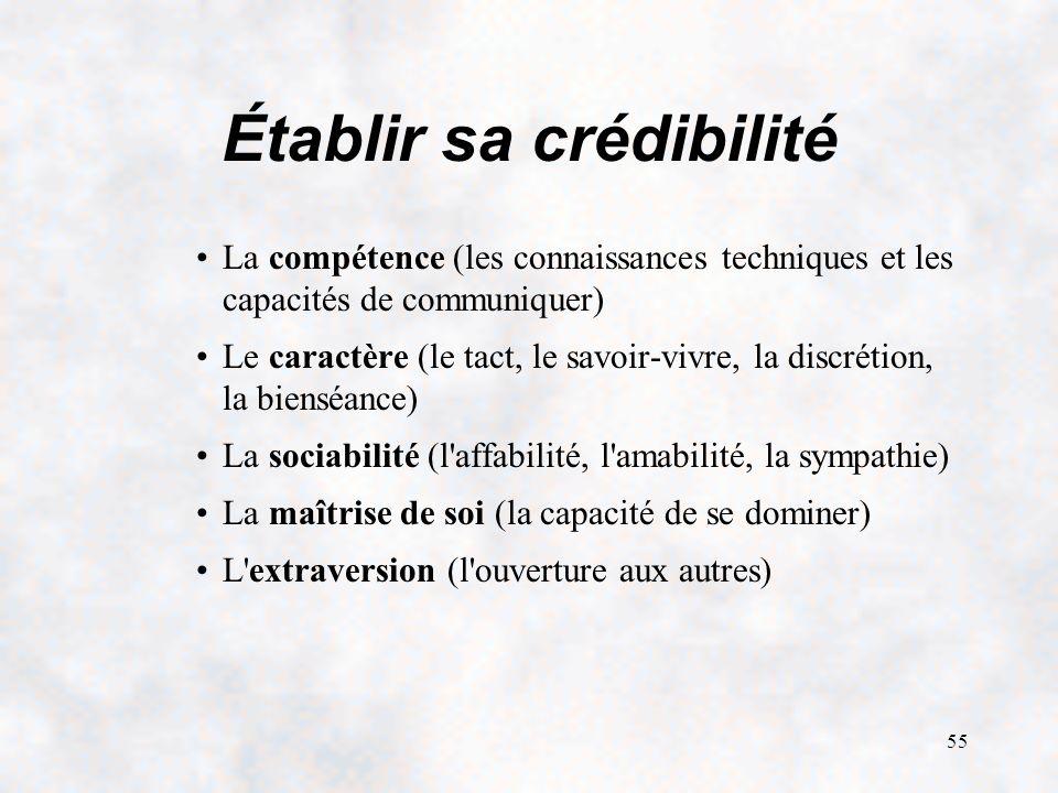 55 Établir sa crédibilité La compétence (les connaissances techniques et les capacités de communiquer) Le caractère (le tact, le savoir-vivre, la discrétion, la bienséance) La sociabilité (l affabilité, l amabilité, la sympathie) La maîtrise de soi (la capacité de se dominer) L extraversion (l ouverture aux autres)