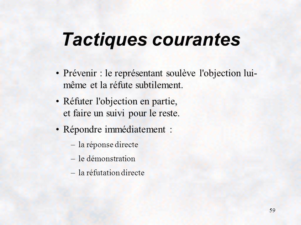 59 Tactiques courantes Prévenir : le représentant soulève l objection lui- même et la réfute subtilement.