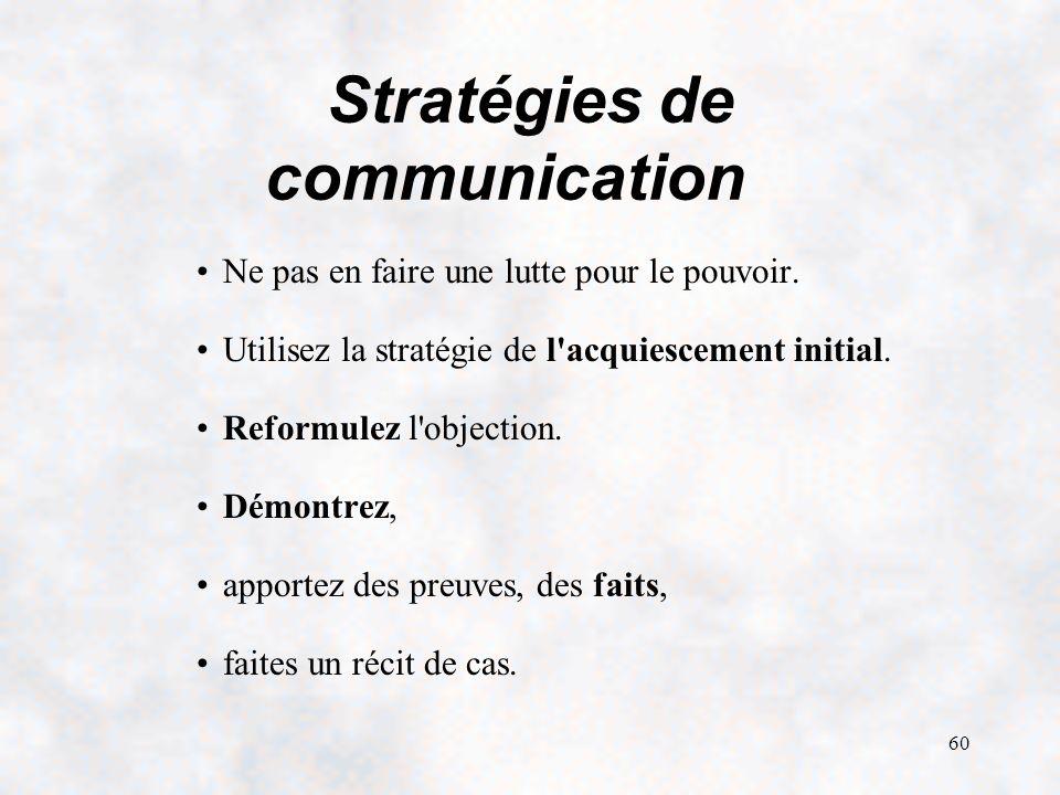 60 Stratégies de communication Ne pas en faire une lutte pour le pouvoir.