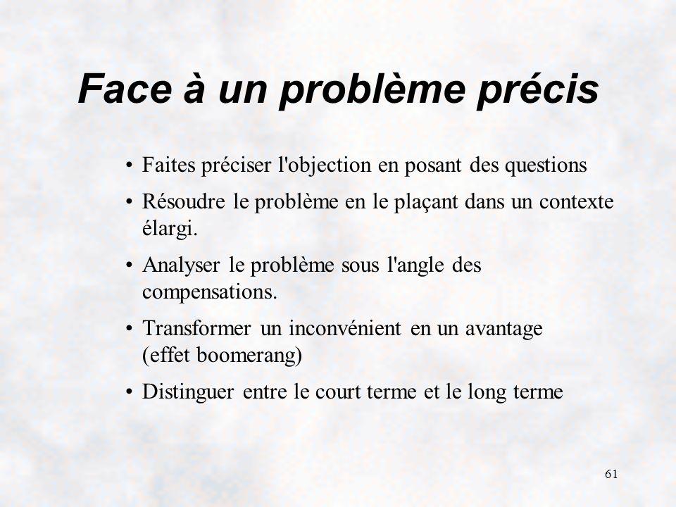 61 Face à un problème précis Faites préciser l objection en posant des questions Résoudre le problème en le plaçant dans un contexte élargi.