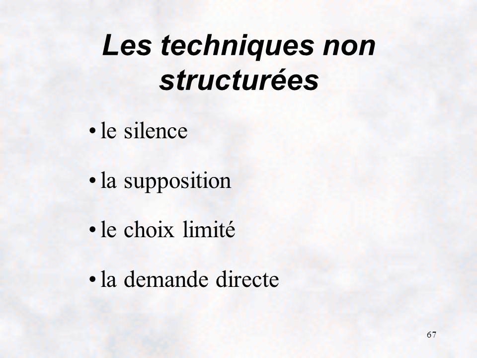 67 Les techniques non structurées le silence la supposition le choix limité la demande directe