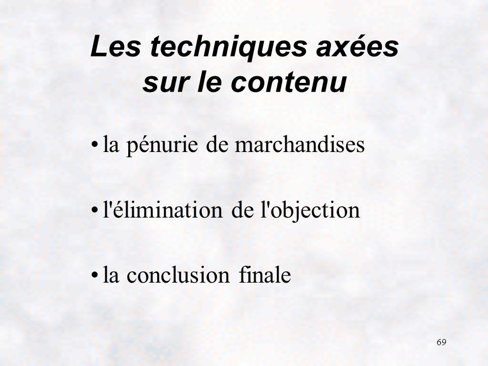 69 Les techniques axées sur le contenu la pénurie de marchandises l élimination de l objection la conclusion finale