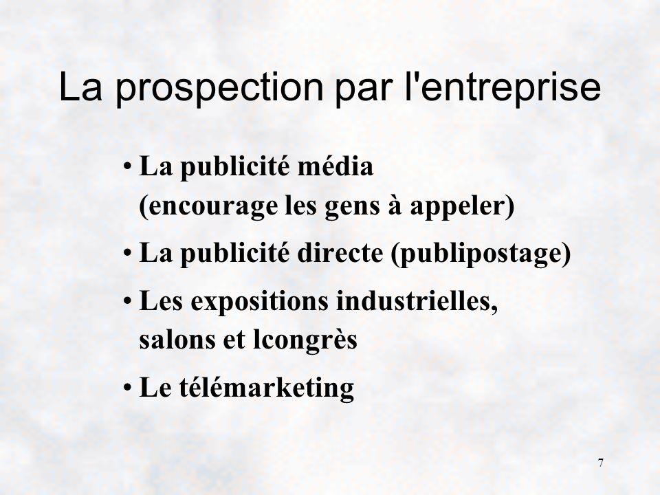 7 La prospection par l entreprise La publicité média (encourage les gens à appeler) La publicité directe (publipostage) Les expositions industrielles, salons et lcongrès Le télémarketing