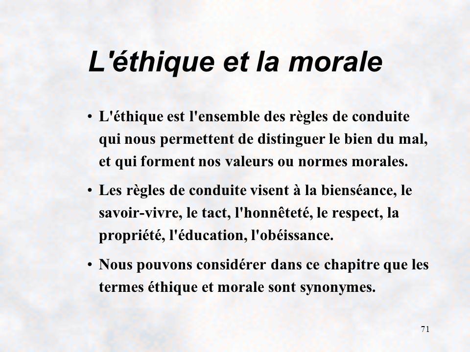 71 L éthique et la morale L éthique est l ensemble des règles de conduite qui nous permettent de distinguer le bien du mal, et qui forment nos valeurs ou normes morales.