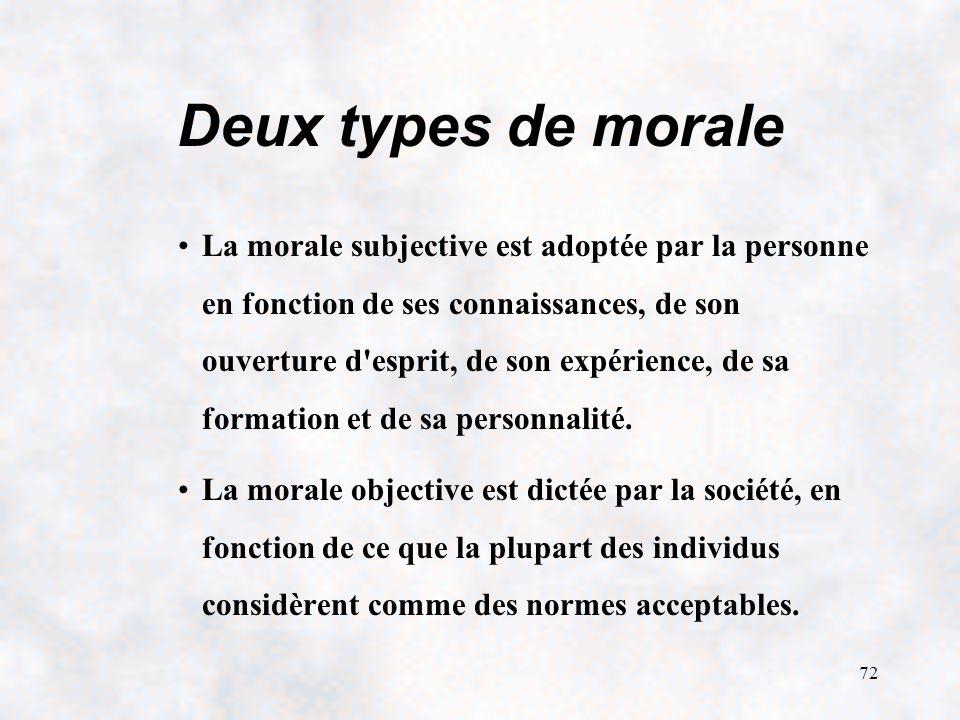 72 Deux types de morale La morale subjective est adoptée par la personne en fonction de ses connaissances, de son ouverture d esprit, de son expérience, de sa formation et de sa personnalité.